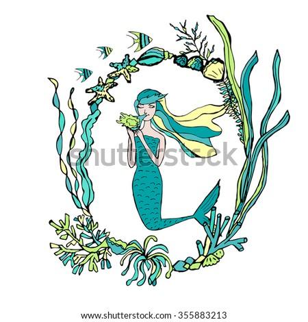Hand Drawn Mermaid Seaweed Frame Vector Stock Vector (2018 ...