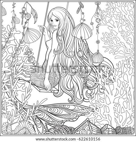 hand drawn mermaid long hair underwater stock vector