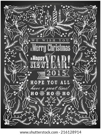 hand-drawn Merry Christmas and Happy New Year card on chalkboard  - stock vector