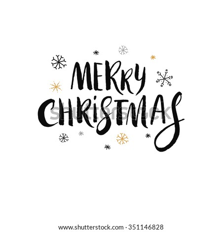 hand drawn Merry Christmas lettering - stock vector