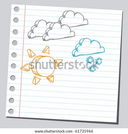 Hand drawn meteorology symbols set one - stock vector