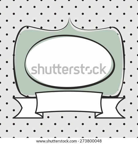 Hand drawn mint green vector frame on polka dots grey background - stock vector