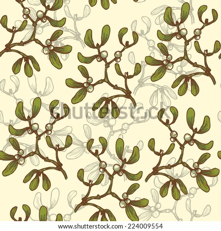 Hand drawn  mistletoe  twigs vintage seamless pattern.  All objects are conveniently grouped  and are easily editable. - stock vector