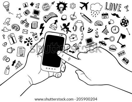 hand-drawn mobile phone in hands with doodle collection - stock vector