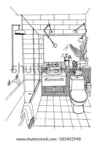 Hand Drawn Modern Bathroom Interior Design Vector Sketch Illustration