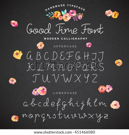 Hand drawn modern calligraphy font - stock vector