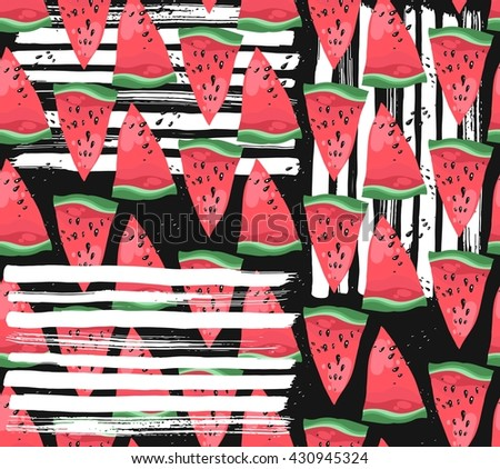 Hand drawn modern vector watermelon pattern with white ink textured strokes on black background.Fabric watermelon pattern. Textile watermelon pattern. Trendy watermelon pattern.Summer illustration. - stock vector