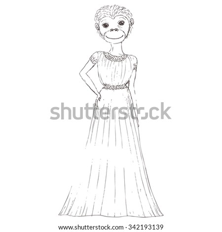 Monkey cartoon images black and white dress