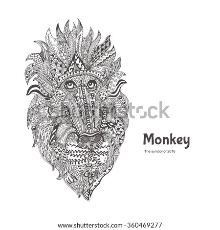 hand drawn monkey with ethnic floral pattern coloring page zendala design for
