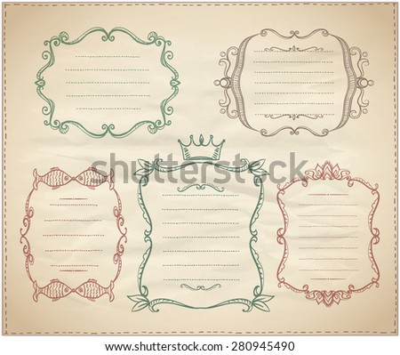 Hand drawn monogram vintage frames with place for text on a paper - stock vector