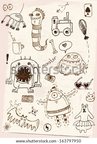hand drawn monster set - stock vector