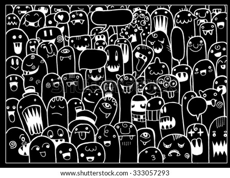 Hand Drawn Monsters and cute alien friendly cartoon,doodle Style with Speech Bubbles .Vector Collection