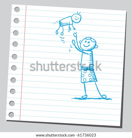 Hand drawn mother playing with her baby - stock vector