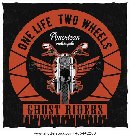 Hand drawn motorcycle with wings, 'One life, two wheels', t-shirt design