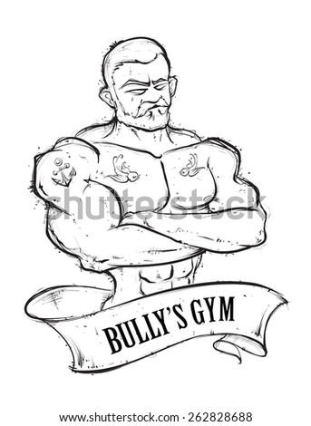 Hand-drawn muscular gym guy with tattoos. Vintage ribbon banner. Sketchy retro styled vector illustration.