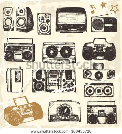 Hand drawn music equipment - stock vector