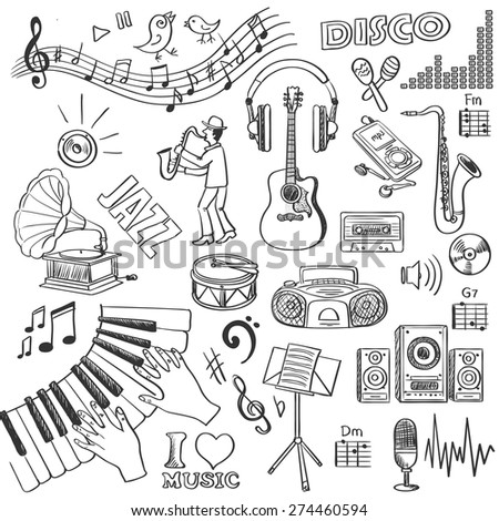 Hand drawn music, excellent vector illustration, EPS 10 - stock vector