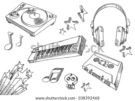Hand Drawn Music Icons - stock vector