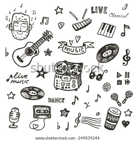 Hand drawn music icons set - stock vector