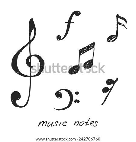 Hand-drawn music notes. Vector illustration. - stock vector