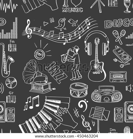 Hand drawn music pattern. Vector illustration, EPS 10 - stock vector