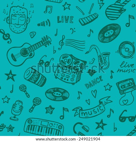 Hand drawn music seamless background - stock vector