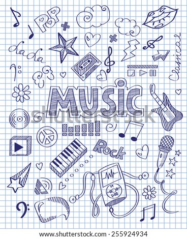 Hand drawn music set  - stock vector