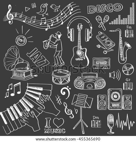 Hand drawn music set. Vector illustration, EPS 10 - stock vector