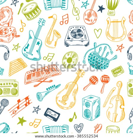 Hand drawn musical instruments collection seamless pattern. Synthesizer, bass guitar, domra, gramophone,  bagpipe, microphone, vinyl, maracas, cassette, piano and other. - stock vector