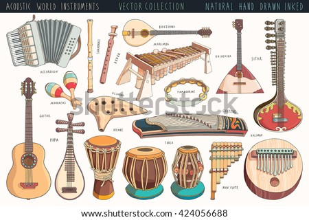 Hand Drawn World Musical Instruments a Collection Stock Vector ...
