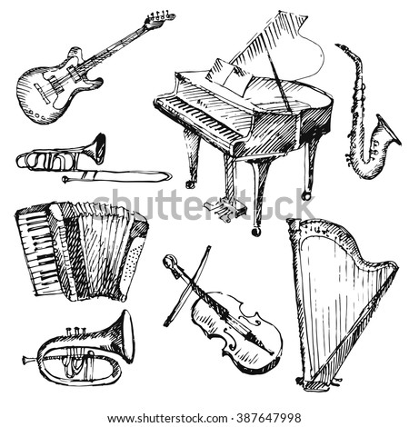 Hand drawn musical instruments. Sketch. Vector illustration.
