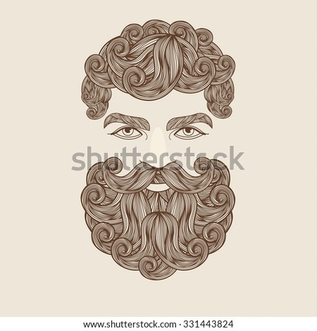 Hand Drawn Mustache Beard and Hair Style. - stock vector