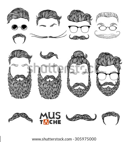 Hand Drawn Mustache Beard and Hair Style. Hipster curly hair man set. Waxing hair design.Beard set isolated. Man mouth isolated. Mouth mask . Vector illustration. - stock vector