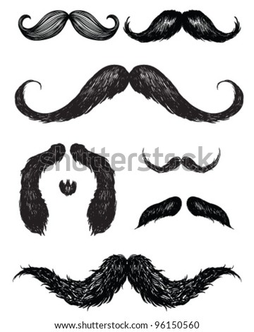 Hand drawn mustache set - stock vector