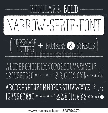 Hand drawn narrow alphabet. Uppercase tall and thin letters and symbols on chalkboard. Handdrawn typography. Narrow doodle font. Light and bold condensed type. Hipster letters. - stock vector