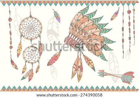Hand drawn native american dream catcher, indian chief headdress, feathers, beads and arrows, vector illustration - stock vector