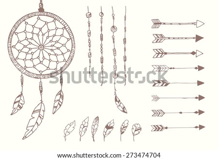 Hand drawn native american feathers, dream catcher, beads and arrows, vector illustration - stock vector