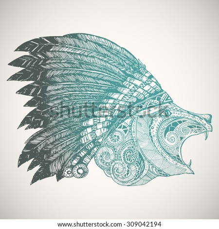 Indian headdress bear in indian chief feather hat stock vector