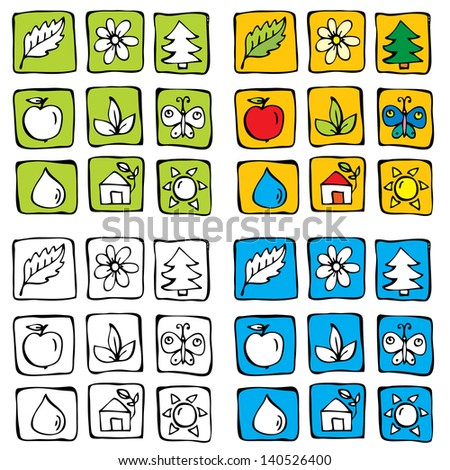 Hand drawn nature icon set.