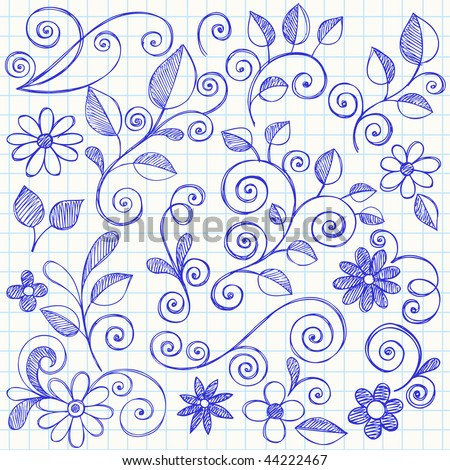 Hand-Drawn Nature Leaves and Swirls Sketchy Doodles Design Elements on Graph (Grid) Notebook Paper Vector Illustration - stock vector