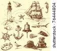 hand drawn nautical collection - stock vector