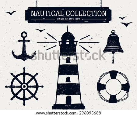 Hand drawn nautical collection of lighthouse, anchor, ship helm, lifebuoy, bell. - stock vector