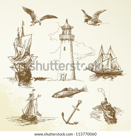 hand drawn nautical elements - stock vector