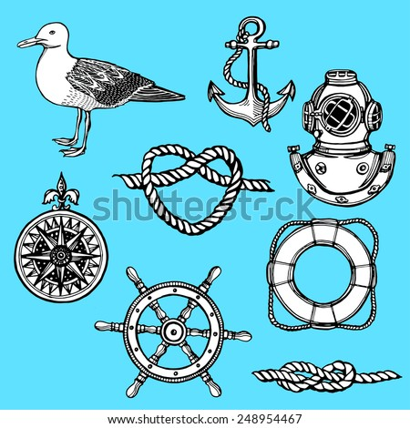 hand drawn nautical vintage set.  Anchor, lifebuoy, knot, wind rose,diving helmet, seagull, steering wheel. Blue background