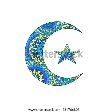 Hand drawn new moon and star for anti stress colouring page. Pattern for coloring book. Illustration in zentangle style. Colorful variant. Ethnic pattern.
