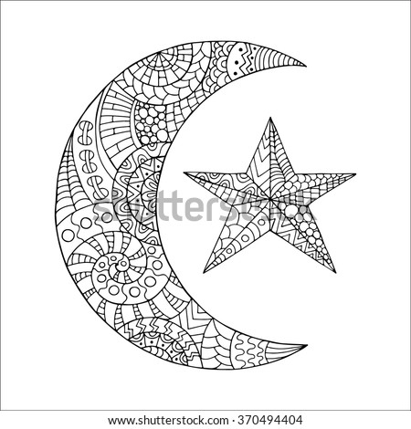 hand drawn new moon and star for anti stress colouring page pattern for coloring book - Coloring Pages Stars Moons