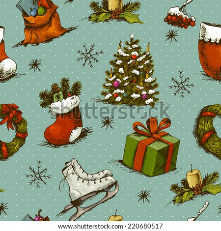 Hand-drawn New Year and Christmas Seamless Background , Vector Illustration. Christmas Seamless Pattern. New Year collection
