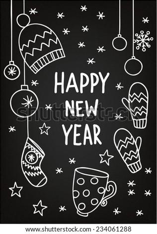 Рисунки на доске с новым годом