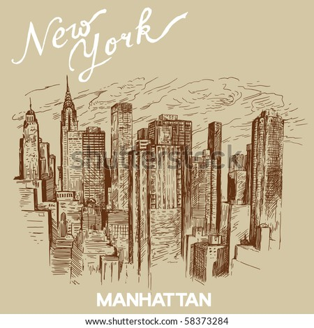 hand drawn new york architecture - stock vector