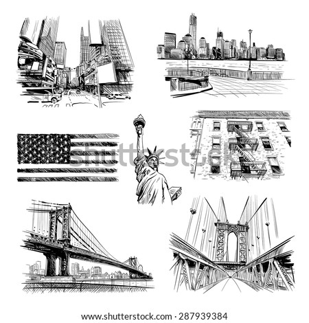 Hand drawn New York city collage, vector illustration - stock vector